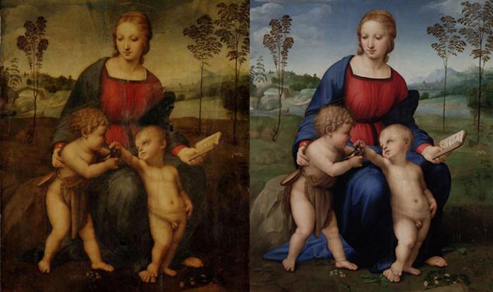 Raffello - Madonna del Cardellino - 1506 prima e dopo il restauro