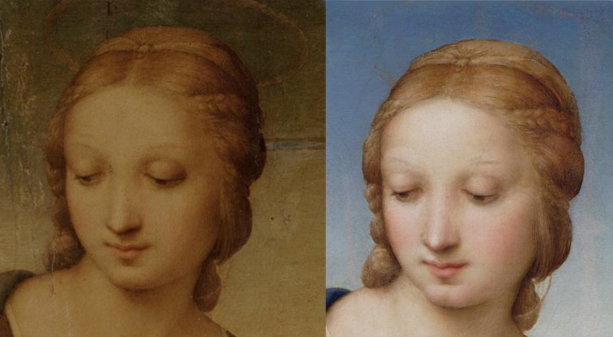 Raffaello - Madonna del Cardellino - 1506 - prima e dopo il restauro (particolare)