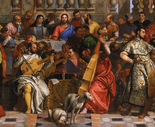 """Particolare """"Nozze di Cana"""" di Veronese, 1562-63."""