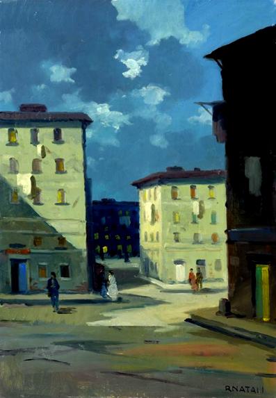38329Natali Renato Casa Mascagni a Livorno - Olio su tavola -