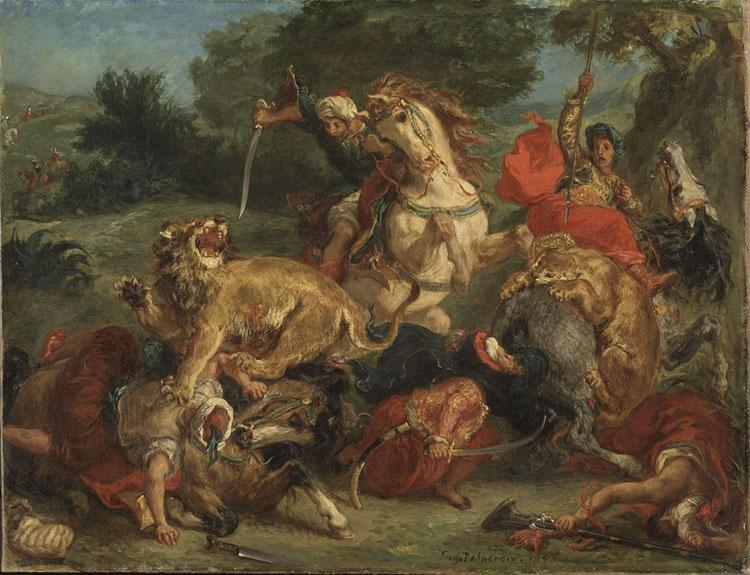 Eugène Delacroix: Lejonjakt. NM 6350