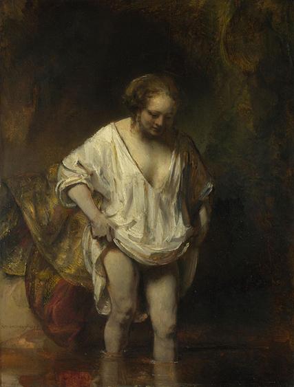 Rembrandt1654 giovane donna che si bagna in un ruscello