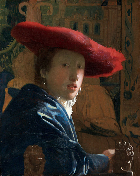 Vermeer_-_Girl_with_a_Red_Hat1655fanciullacon cappello rosso