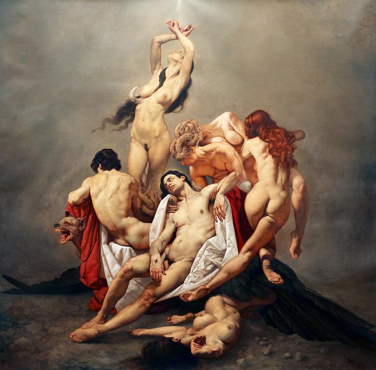 0024 REQUIEM olio su tela 205 x 205 cm anno 2012