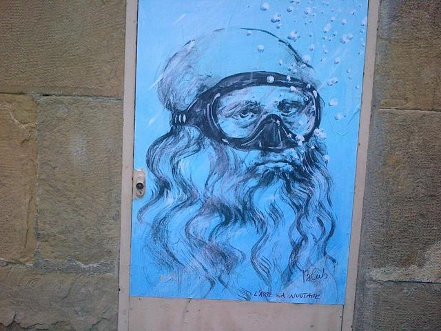 Leonardo da Vinci con la maschera da sub.