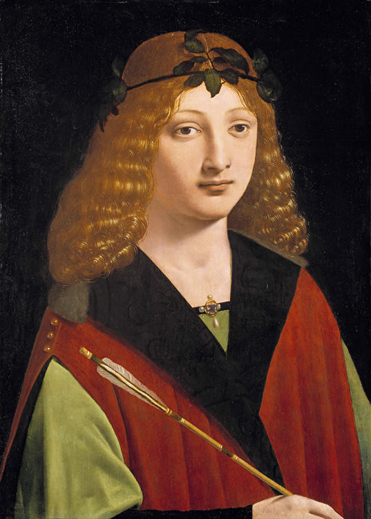 Giovanni Antonio Boltraffio, 1467-1516 Portrait of a Youth Holding an Arrow, ca. 1500-10 Oil on wood panel, 49.7 x 35.4 cm