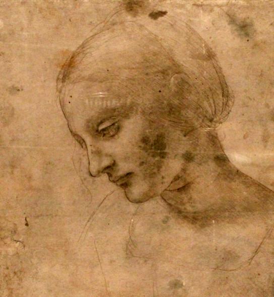 Leonardo da Vinci, Testa di donna inclinata, 1488-1490