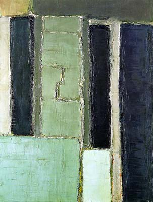 Composition en gris vert et bleu – 1950