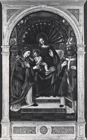 mdps Maestro della pala Sforzesca , Madonna con Bambino in trono tra santo Stefano e san Nicola di Bari1550